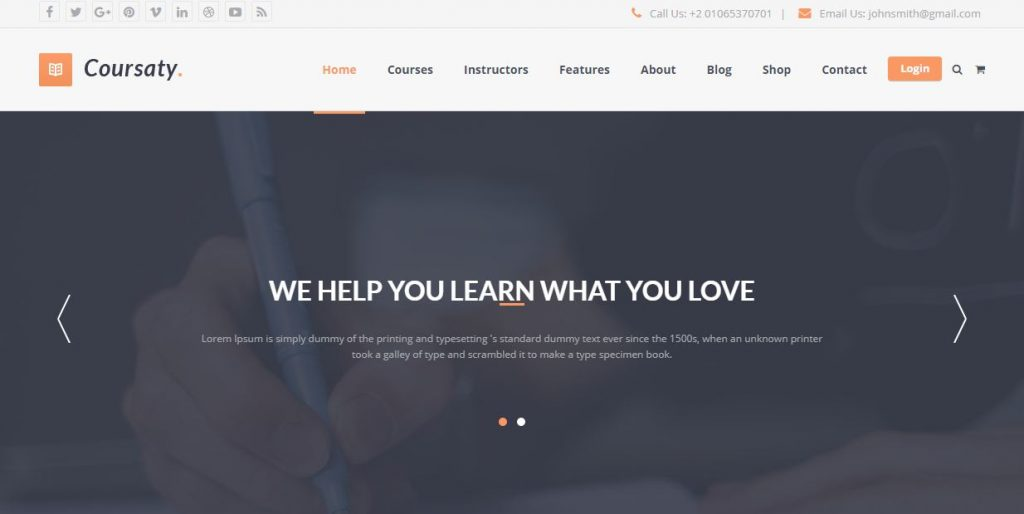 Coursaty - giao diện website học trực tuyến