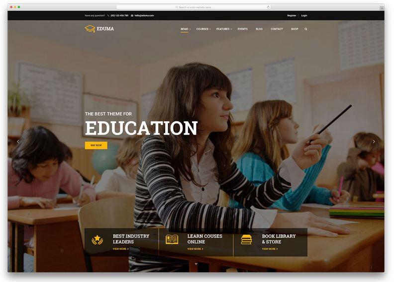Education WP - giao diện website học trực tuyến