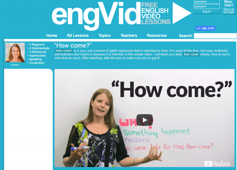 EngVid giúp người học dễ tiếp cận với tiếng anh hơn